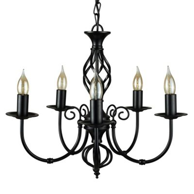 Memphis Twist 5 Way Chandelier Ceiling Light, Satin Black