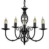 Memphis Twist 5 Way Chandelier Ceiling Light, Satin Black