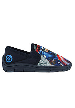 Boys Marvel Avengers Slippers Navy Iron Man Thor Captain AmericaVarious Sizes - Blue