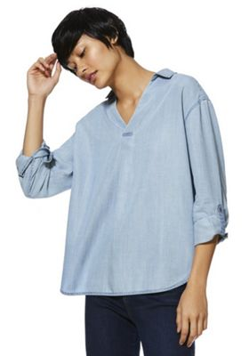 F&F V-Neck Tencel® Denim Shirt Light Wash 10