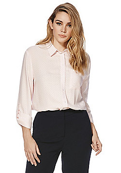 F&F Polka Dot and Striped Long Line Shirt - Pink