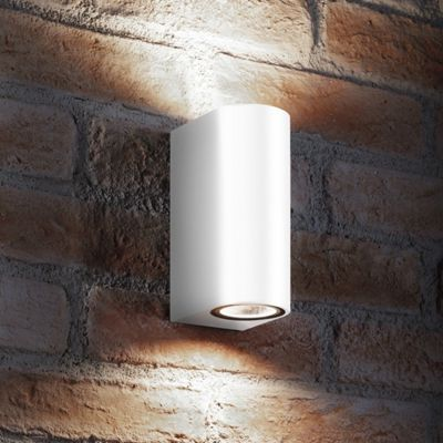 Auraglow 14w Outdoor Double Up & Down Wall Light - White - Cool White