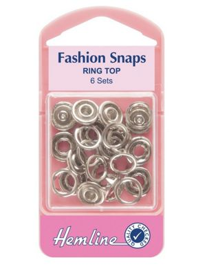 Hemline 11mm Silver Ring Top Fashion Snaps (6 Sets)