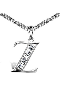 Sterling Silver Cubic Zirconia Identity Pendant - Initial Z - 18inch Chain