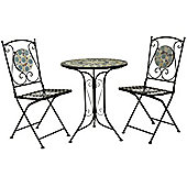 Charles Bentley 2 Seater Wrought Iron Blue Mosaic Bistro Set