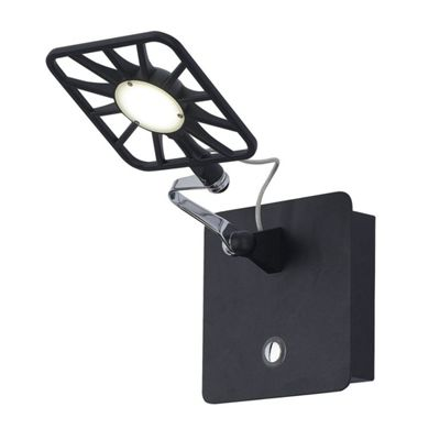 LED ADJUSTABLE WALL BRACKET - 1xLED, SQUARE HEAD, BLACK WITH ILLUMINATED TOUCH ON/OFF SENSOR