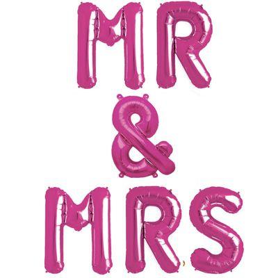 Mr & Mrs' Pink Balloon Kit - 16 inch