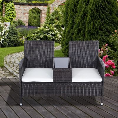 Outsunny Garden Rattan 2 Seater Wicker Love Seat Bench w/ Cushions (Brown)