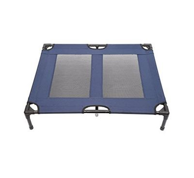 PawHut Dog Cat Elevated Raised Cot Bed Portable Camping Basket - Blue (Large)