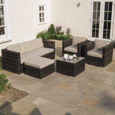 Nova - Lyon Outdoor Garden 3 Seater Rattan Sofa & Armchair Set - Brown