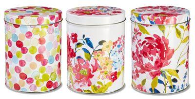 Cooksmart Floral Romance Storage Tins, Set of 3