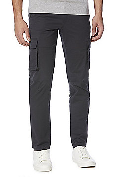 F&F Belted Slim Fit Cargo Trousers - Charcoal
