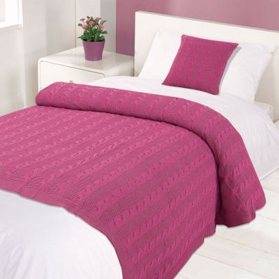 Highams 100% Cotton Woven Cable Knit Bed Blanket Throw Pansy Pink 125 x 150cm