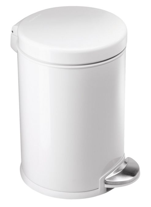 simplehuman 3 Litres Round Pedal Bin in Brushed Stainless Steel - White