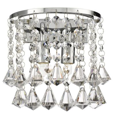 DORCHESTER CHROME 2 LIGHT ROUND WALL BRACKET - PYRAMID DROPS
