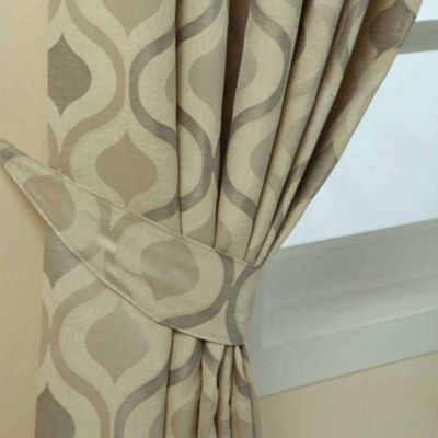 Homescapes Cream Jacquard Tie Back Pair Modern Wave Pattern Design