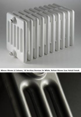 DQ Heating Peta 2 Column Designer Radiator - 1792mm High x 2205mm Wide - 49 Sections - Gun Metal