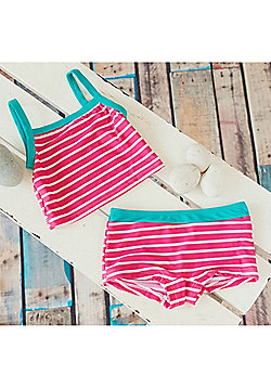 Big Fisch Girls Striped Tankini | Raspberry - Pink
