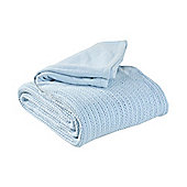 EHC Hand Woven Adult Cellular Blanket, Light Blue