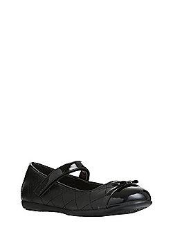 F&F Patent Toecap Quilted Ballerina School Shoes - Black
