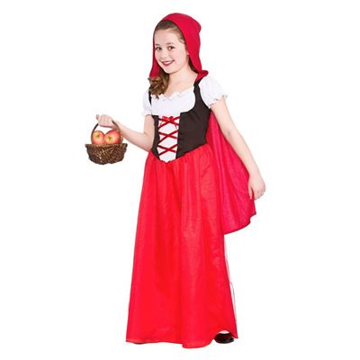 Red Riding Hood Childrens Fancy Dress Costume Dress with Hooded Cape-Small 3-4 Years