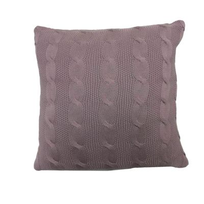 Highams Cable Knit Cushion Cover Unfilled 43 x 43 cm - Heather