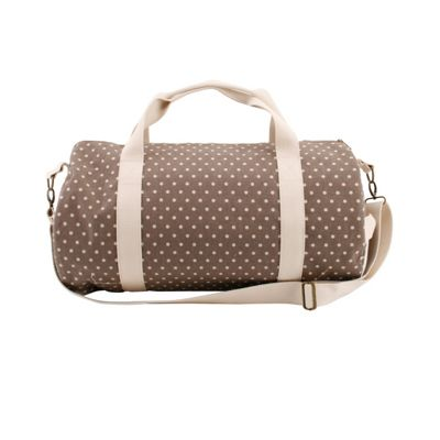 Taupe Polka Dot Duffle Bag
