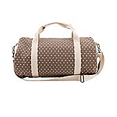 Taupe Polka Dot Duffle Bag