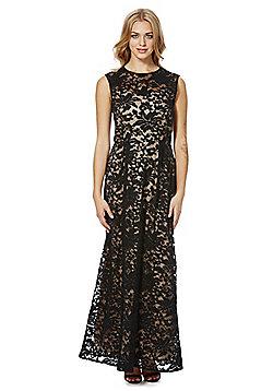 Mela London Embossed Floral Maxi Dress - Black