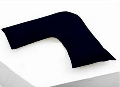 Polycotton Percale - V Shaped (Orthopaedic) Pillowcase, Black