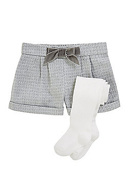 F&F Sparkle Weave Shorts and Tights Set - Grey