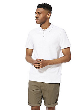F&F Pique Short Sleeve Polo Shirt with As New Technology - White