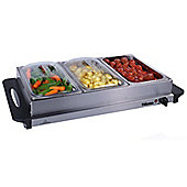 Premium Large Buffet Warmer & Server Hot Plate - 3 x 2.5lt capacity and Keep Warm Function