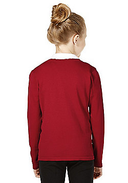 Girls Embroidered Scallop Edge School Cotton Cardigan with As New Technology - Red