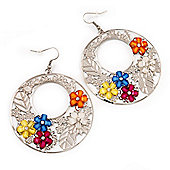 Silver Tone Multicoloured Flower Hoop Drop Earrings - 7cm Length