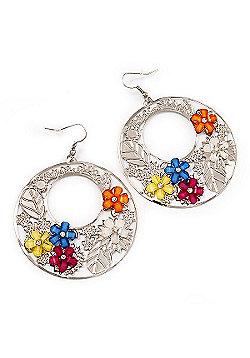 Silver Tone Multicoloured Flower Hoop Drop Earrings - 7cm Length