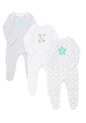 F&F 3 Pack of Slogan Sleepsuits Multi Black White 3-6 months