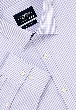 F&F Checked Slim Fit Long Sleeve Shirt - Purple