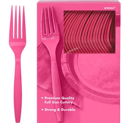 Hot Pink Plastic forks - 100 Pack