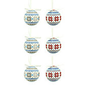 Pack of 6 Nordic Style Snowflake Decoupage Baubles 8cm