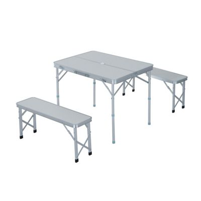 Outsunny Folding Table Chairs Picnic Portable Camping Dining Garden BBQ Aluminium