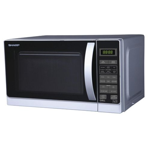 Sharp R662SLM Microwave Oven with Grill, 20L - Silver