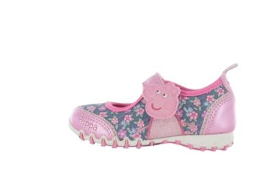 Girls Peppa Pig Pink Fashion Canvas Trainers Hook and Loop UK Kids Size 5