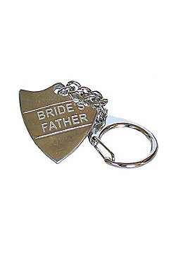 Pewter Wedding Bride's Father Shield Keyring