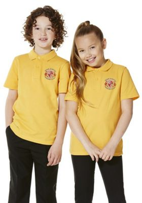 Unisex Embroidered School Polo Shirt 2-3 years Yellow gold