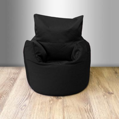 Children's 100% Cotton Twill Pre-Filled Bean Chair, Black
