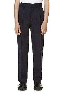 "F&F School 2 Pack of Boys Teflon EcoElite""™ Pleat Front Trousers - Navy"