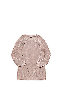 F&F Cold Shoulder Sparkle Jumper Dress - Pink