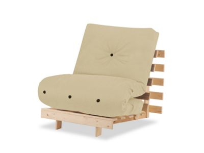 Hy Beds Futon 1 Seater Single Bed Pine Chair And Cream Mattress Set