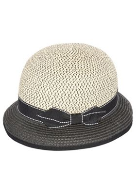 F&F Bow Cloche Hat Black/Beige One Size